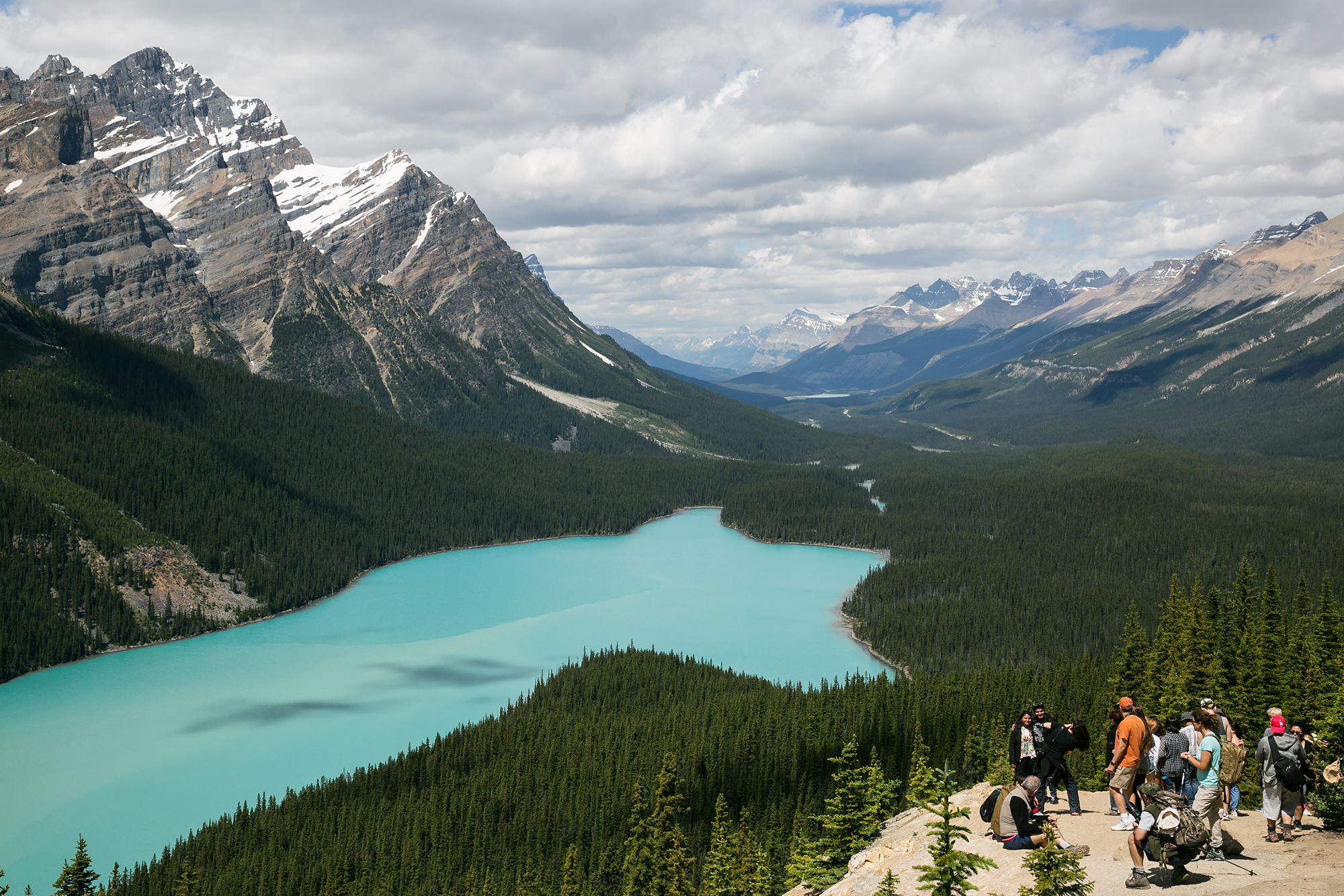 Peyto Lake up the Icefields Parkway in Banff National Park.