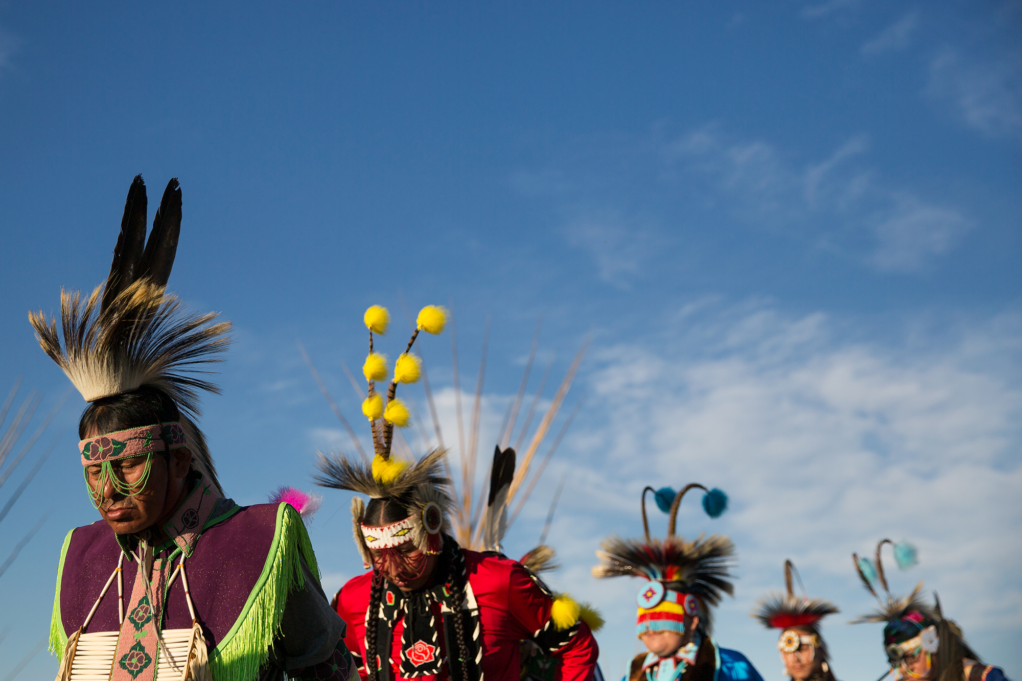 Dancers prepare to enter the arena during North American Indian Days in Browning, Montana.