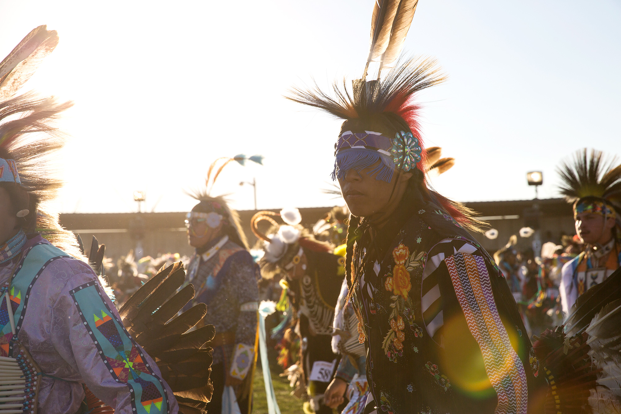 Dancers enter the arena during the Grand Entry at North American Indian Days in Browning, Montana.