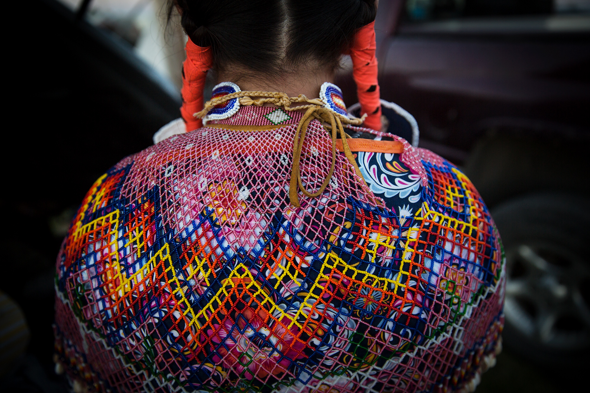 Intricate bead work adorns a young woman at North American Indian Days in Browning, Montana.