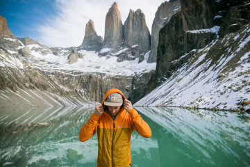Mark and his Cotopaxi Pacaya jacket at Torres del Paine, Chile.