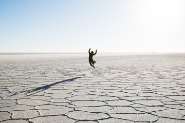 Britnee makes a break for it across Salar de Uyuni, Bolivia.