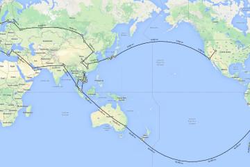 round the world travel map